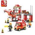 Sluban Пожарные Станции Building Blocks Набор Модель 371 + шт Enlighten Образования DIY Строительного Кирпича Игрушки Для Детей