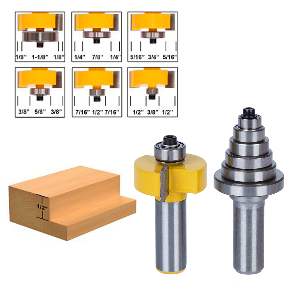 2 Pcs/Set Type T 5 knife bearing combination cutting tenon woodworking cutter Router Bit For solid wood Particle Board