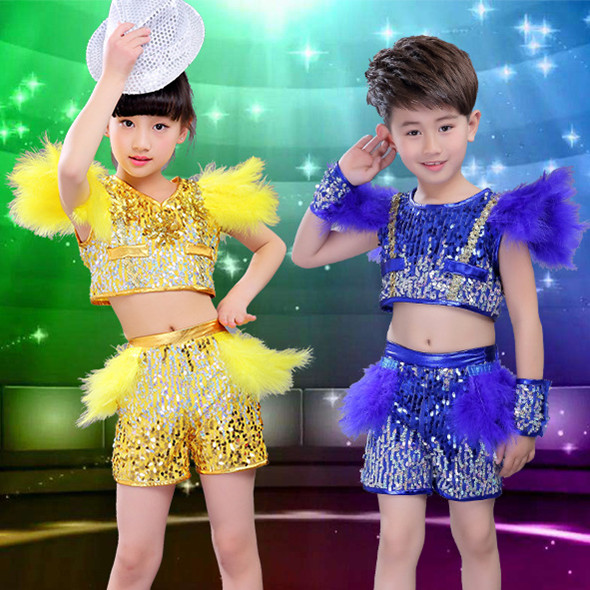 Free Shipping Sequin Royal Blue Yellow Children Boys Girls Hip Hop Costumes Kids Stage Ballroom Jazz Hiphop Dance Wear Clothes