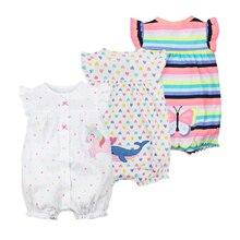Купить с кэшбэком Newborn Baby Girl Clothes Infant Cartoon Animal Costumes Baby Clothing Rompers Summer Short Sleeve Jumpsuit 100% Cotton Pajamas