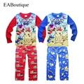2017 Ano Novo do Natal do inverno Dos Miúdos Dos Desenhos Animados PUXÃO meninos impressos meninas pijama define manga comprida pijamas para 4-10 anos de idade varejo