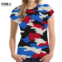 FORUDESIGNS Tshirt Female Casual O Neck Short Sleeves Blue Camouflage 3d Print Women Fashion Colourful Absorb