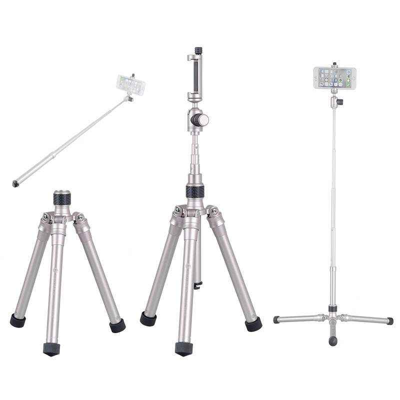 GIZOMOS GXG-215P 3in1 Mobile Phone Holder Stand Selfie Stick Monopod Tripod For DSLR Camera Smartphone With Cell Phone Clip