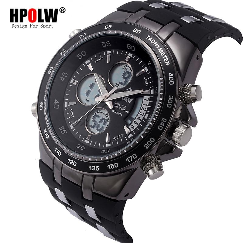 HPOLW Brand Fashion Luxury Men LED Casual Sport Military Watches Shock Resistant Men's Quartz Digital Watch relogio masculino hpolw серебристый цвет 11