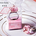 Envío de regalo de boda con forma de anillo de diamante llavero accesorios para llaves boda favores y regalos para invitados casados 50 unids