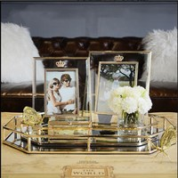 Home furnishings photo frame pendulum bedroom furnishings minimalist modern gold glass crystal photo display