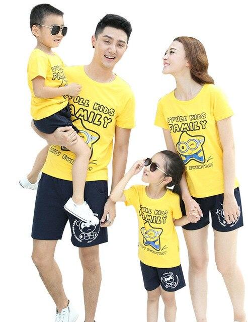 Все семьи одежда устанавливает короткий рукав футболки + шорты семейный комплект одежды для матери и дочери AF1619