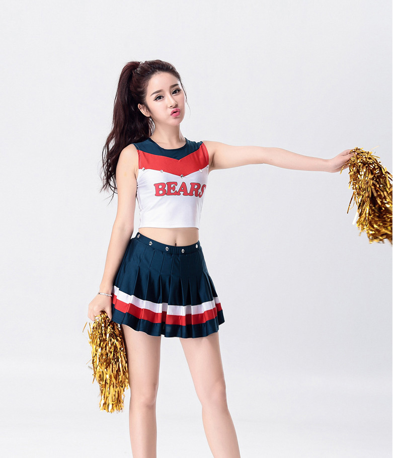 eurocup cheerleader bare midriff dance costumes sexy ball girls school girl sports cosplay halloween gioco vestito dress - Girls Football Halloween Costume