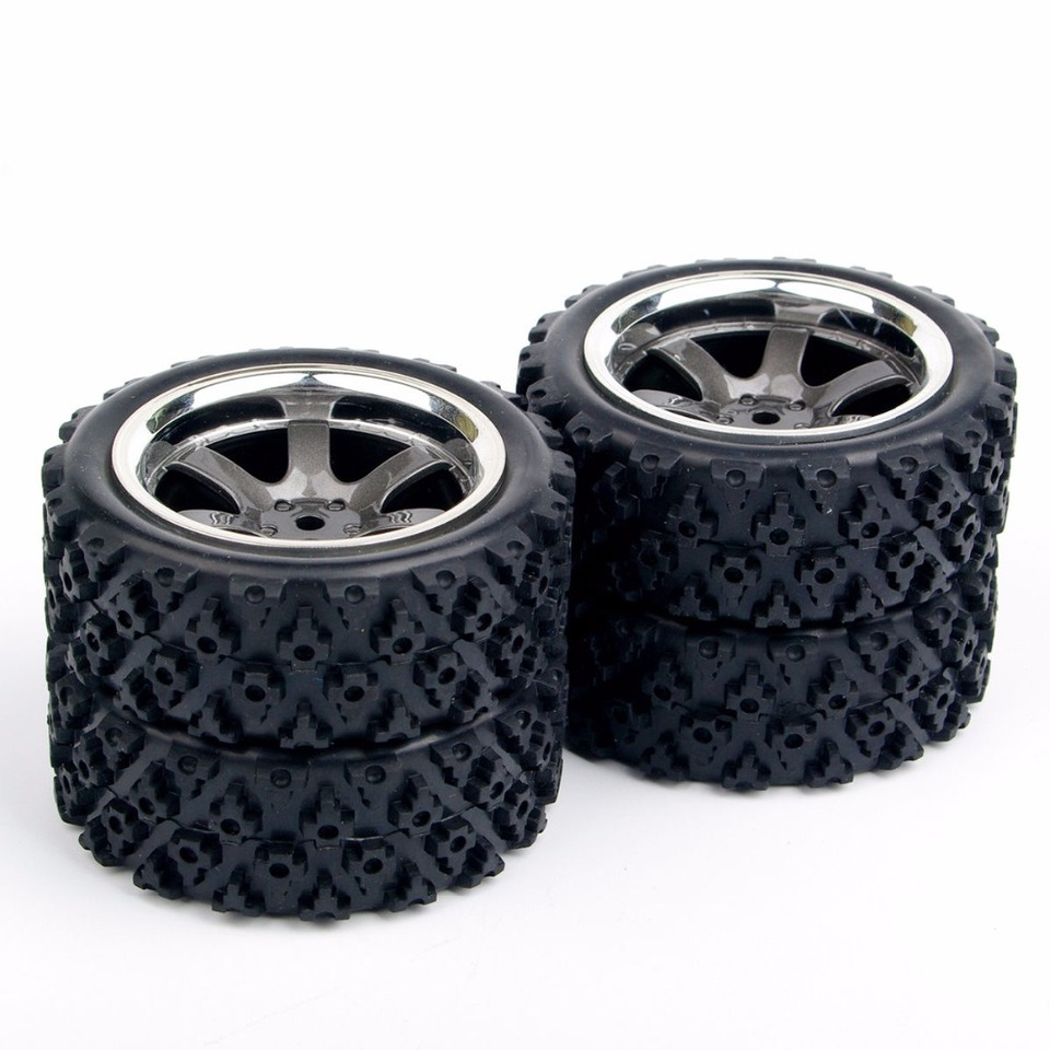 4xRally Racing Rubber Tires Soft Tyres W//Insert Foam RC Off Road 1//10 Car PP048