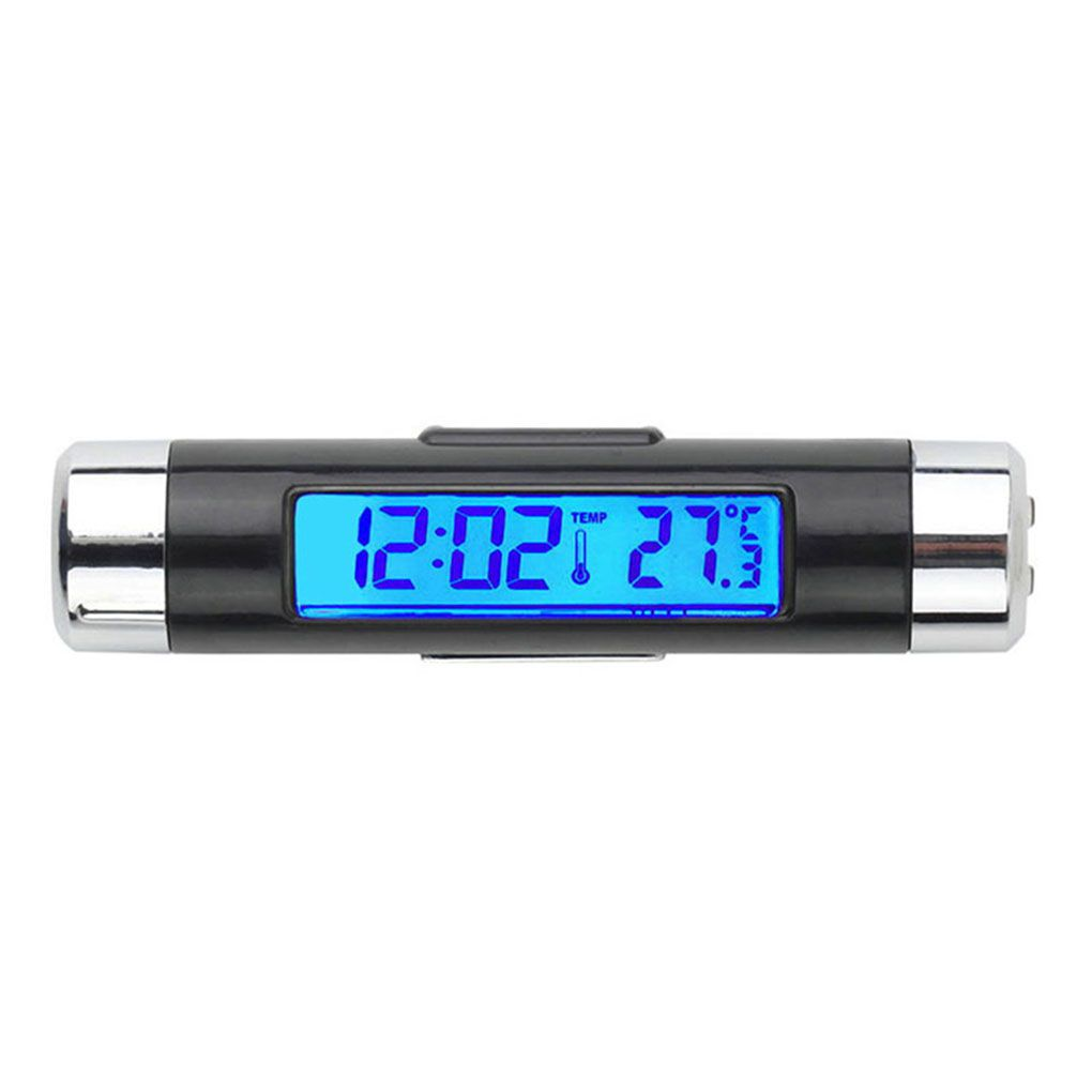 Digital car clock LCD Temperature Thermometer Clock 2 in 1 Car Digital Time Clock Air Vent Outlet Clip On clock in car 1 7 lcd car digital clock random color 2 x lr41