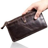 Men Long Wallet Brand Luxury Male Genuine Leather Clutch Bag Casual Design Zipper Money Purse Wallets