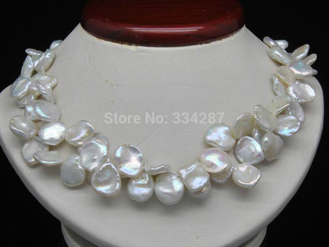 """100% Selling Picture full Double strand Natural Shape 7-9MM White Keshi-pearl necklace 18""""long"""
