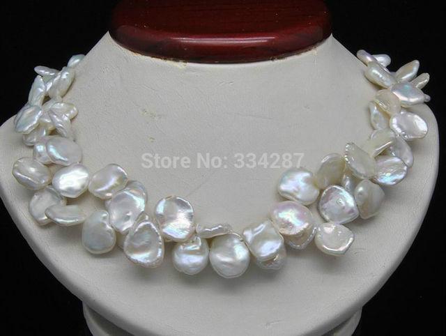 """100% a Venda de Imagem completa Duplo strand Forma Natural 7-9 MM Keshi Branco-pérola colar de 18 """"por muito tempo"""