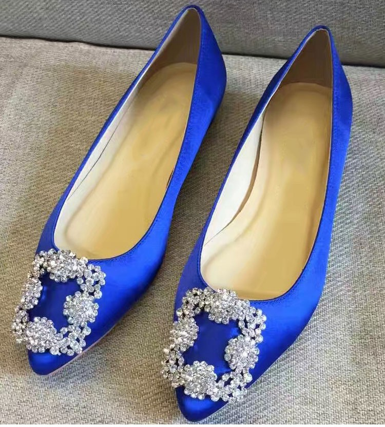 New Y Black Royal Blue Wedding Shoes Bride Crystal Buckle Pointy Toe Women Flats Las Mary Janes Plus 41 In S From