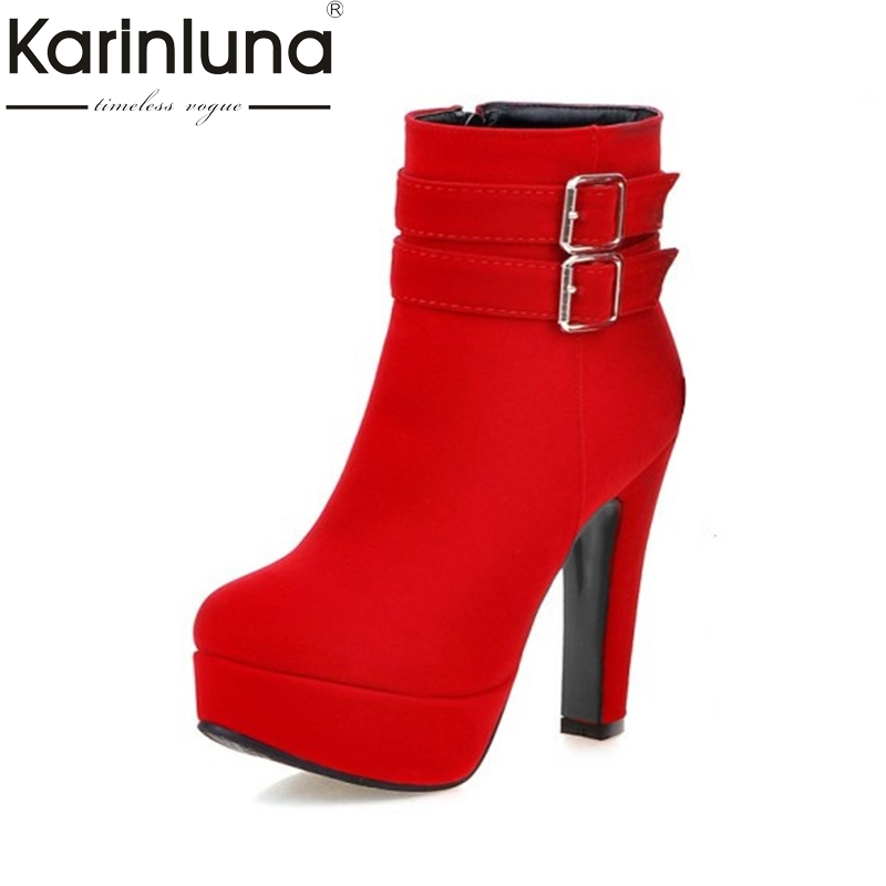 KARNILUNA Big Size 33 47 New Fashion High Heels Ankle Boots Sexy Platform Zip Up Party