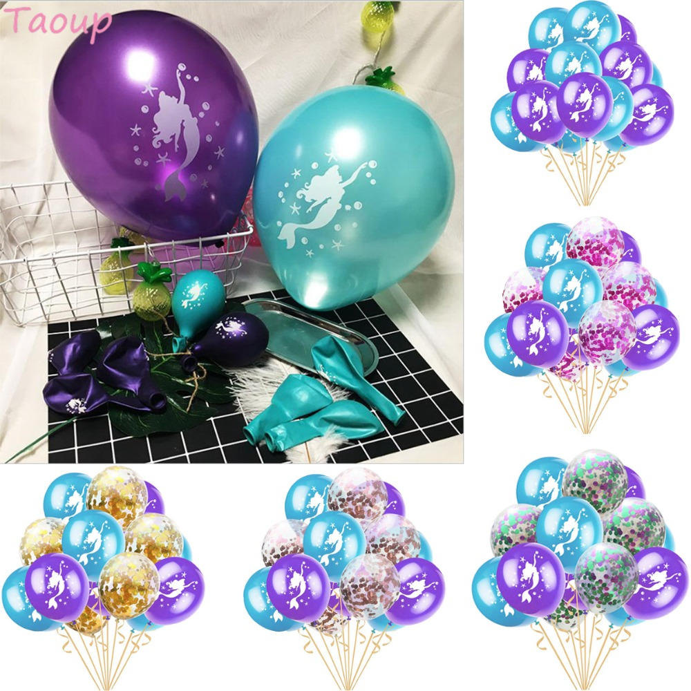 Taoup the Little Mermaid Balloons Latex Confetti Ballons Oceanic Happy Birthday Decors for Kids Party
