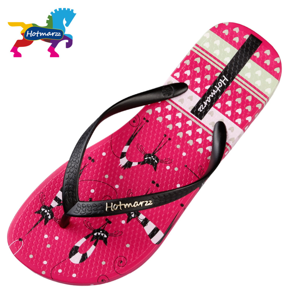 Hotmarzz Women Slippers Beach Flip Flops Cute Kitty Cat Animals Fashion Slides Ladies Summer Flat Thong Sandals in Flip Flops from Shoes