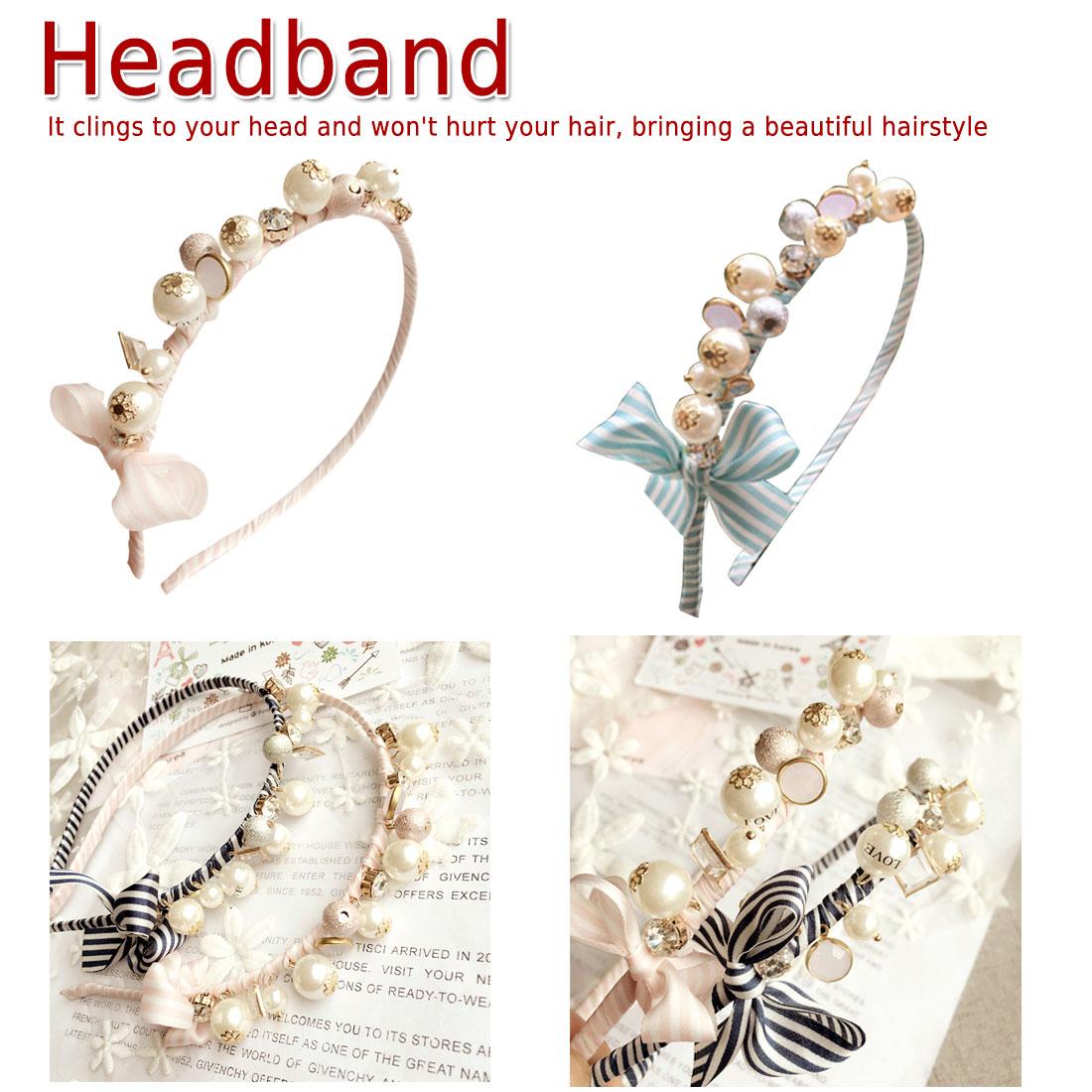 Korean Women Pearls Hair Accessories Colorful Striped Ties Headbands  Girls Elastic Bands Elegant headband
