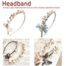 Korean Women Pearls Hair Accessories Colorful Striped Hair Ties Headbands  Girls Elastic Hair Bands Elegant headband