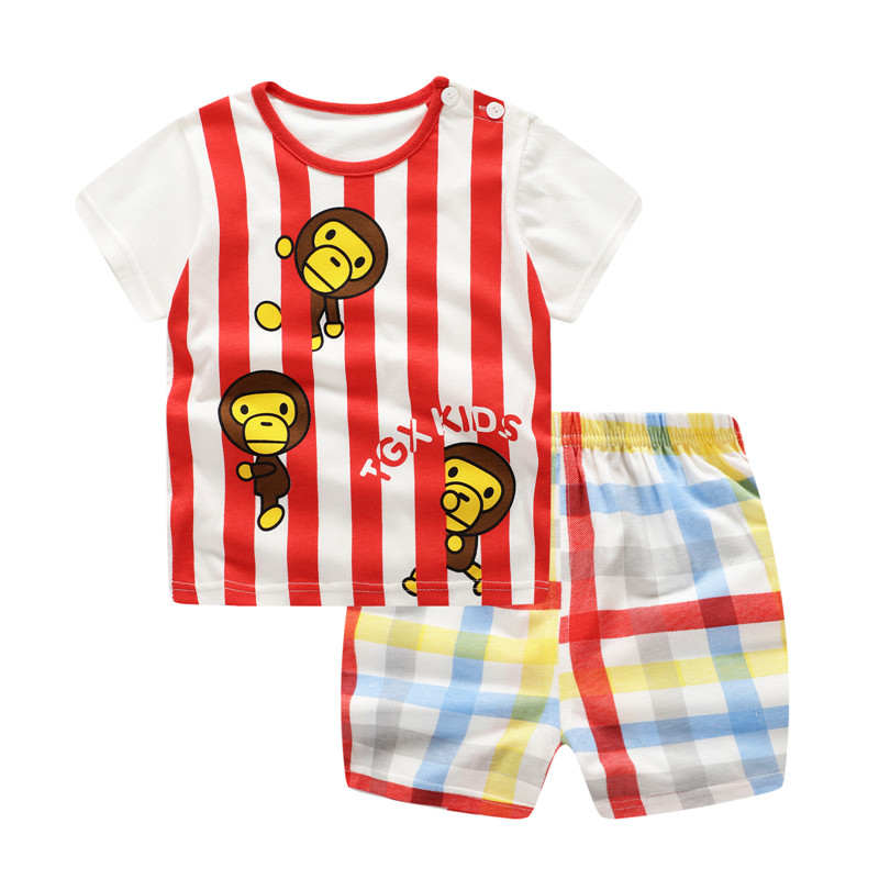 Unini-yun 2019 Summer <font><b>Baby</b></font> Boy Clothes Newborn Striped Cartoon Monkey <font><b>Tshirt</b></font> + Shorts <font><b>Set</b></font> Girls <font><b>Baby</b></font> Clothing Newborn Clothes image