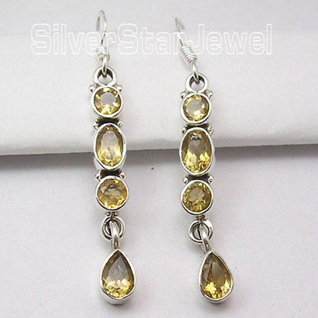 Silver Facetted CITRINE Multi Gem LONG Dangle Earrings 4.7 CM