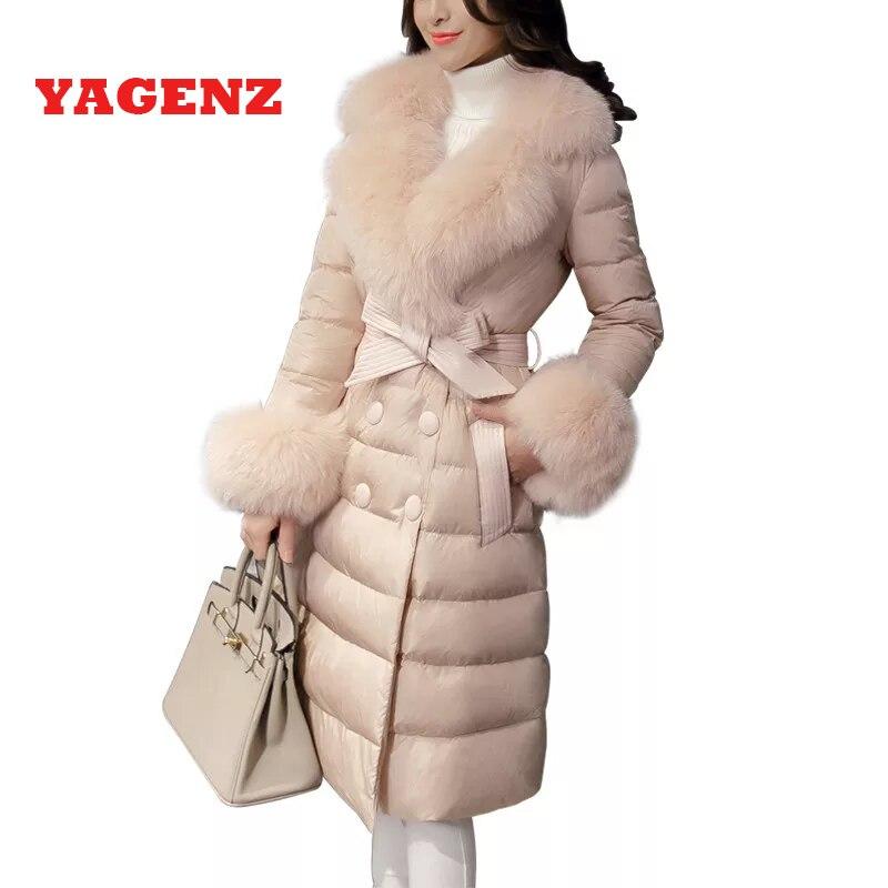 Женское приталенное пальто на белом утином пуху, теплая зимняя куртка с меховым воротником в Корейском стиле, 95%, 2019