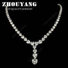 ZHOUYANG Высочайшее Качество ZYN562 Сердце Дизайн женщин Роскошные Свадебные Ожерелье с Высший Сорт Маркиза вырезать CZ Люкс