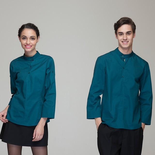 b97730d0033f0 Restaurant Hotel Uniform Women Female Waitress Pullover Blouse Men Male  Waiter Pullover Shirt Adjustable Sleeve