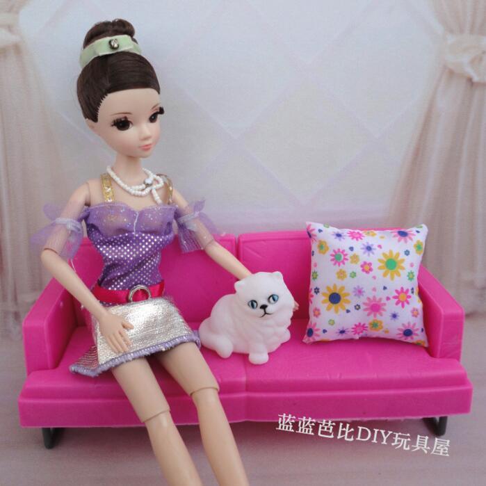 Dress Up Toys Dai Lan barbie case for furniture sets Set Gift Box Furniture Warm Living Room Sofa