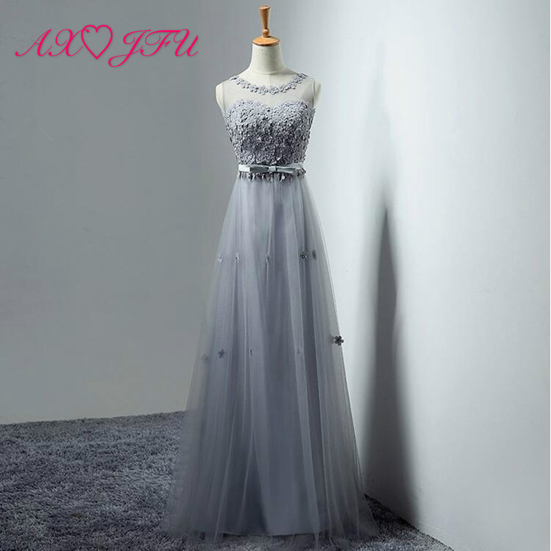 AXJFU Elegant Appliques Long Evening Dresses Half o-neck Party Tulle Dress Cheap price Robe De Soiree