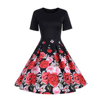 Women S Vintage Dresses 2018 New Spring Autumn Floral Printed Round Neck Short Sleeve Trumpet Elegant