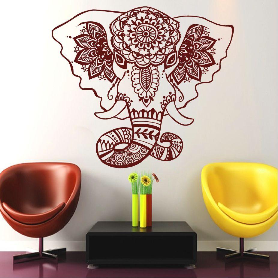 belive om buddha mandala india elefante tatuajes tatuajes de pared de vinilo pegatinas pared del dormitorio