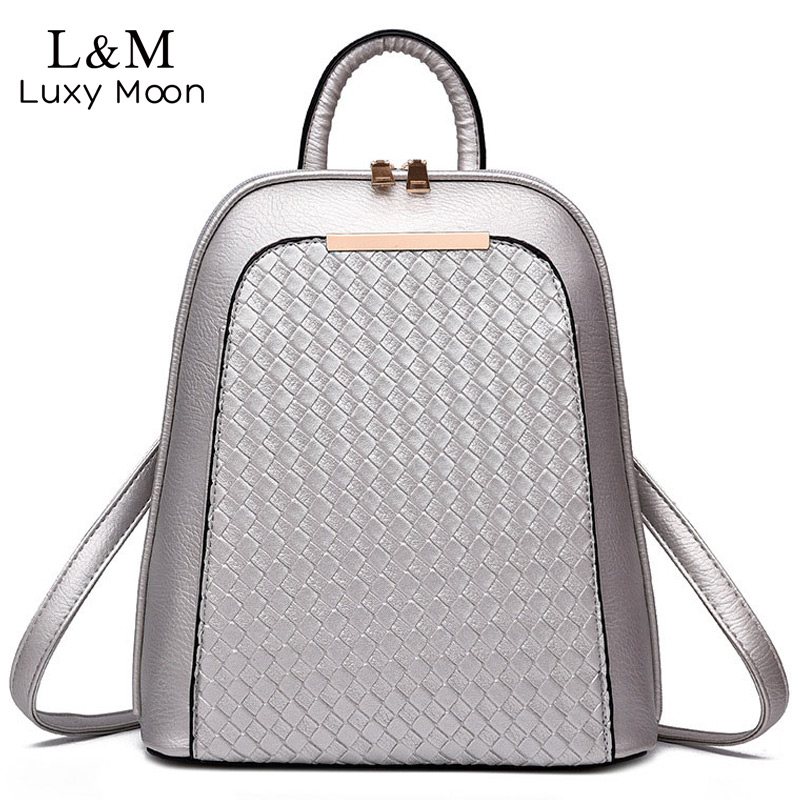 Luxy moon Women Leather Backpack Black Knitting Backpacks For Teenage Girls Silver High Quality PU Bag Fashion Rucksack XA815H