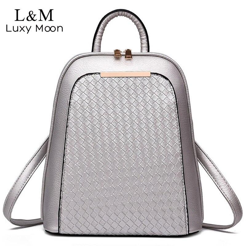 Women Leather Backpack Black Knitting Backpacks For Teenage Girls Silver High Quality PU Bag Fashionl Rucksack