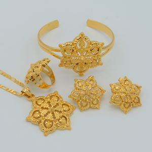 Image 5 - Anniyo Flowers set Jewelry Women Gold Color Pendant Necklace/Earrings/Ring/Bangle African/Arabian/Ethiopian Jewellery #047106