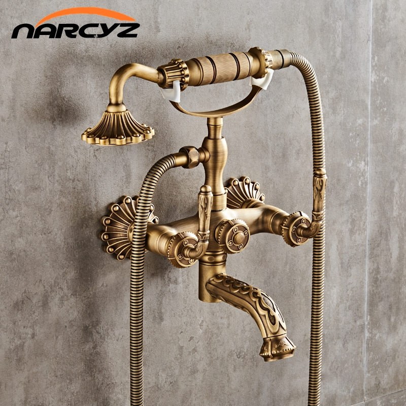 Luxury Antique Brass Bathroom Faucet  Mixer Tap Wall Mounted Hand Held Shower Head Kit Shower Faucet Sets XT334 wall mount single handle bath shower faucet with handshower antique brass bathroom shower mixer tap
