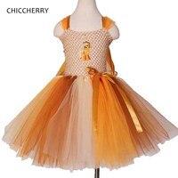 Orange Cute Toddler Girl Clothes Pony Kids Lace Tutu Dress Bowknot Children Party Dresses Robe Enfant