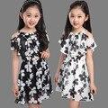 4Y-12Y Gasa de Las Muchachas Vestidos Niños Verano Ocasional Floral Corto Vestido de Princesa Muchacha de Los Cabritos Ropa robe fille de 12 ans pour
