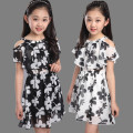 4Y-12Y Girls Chiffon Dresses Children Summer Casual Floral Short Princess Dress Kids Girl Clothing robe pour fille de 12 ans