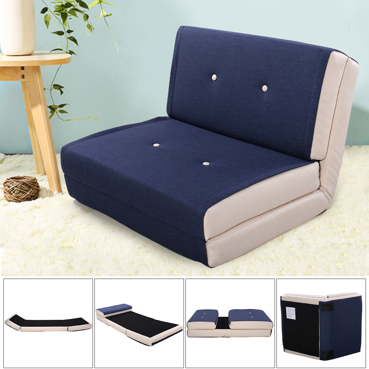 Giantex Fold Down Chair Flip Out Lounger Convertible Sleeper Bed Couch Modern Sofa Bed Living Room Furniture HW52681BL