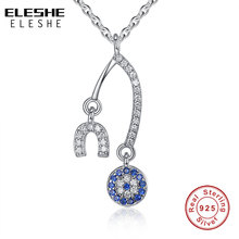 ELESHE Brand New Crystal Blue Evil Eye Pendant Necklace for Women 925 Sterling Silver Alphabet U Necklace for Women Jewelry Gift