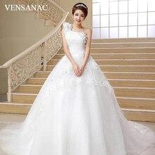 VENSANAC Flowers Pleat One Shoulder Sequined Ball Gown Wedding Dresses 2018 Lace Appliques Court Train Bridal Gowns