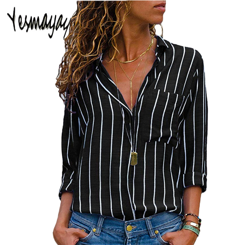 Black Red Striped   Blouse   Womens Tops And   Blouses   Long Sleeves Women Blusas Mujer De Moda 2018 Autumn V Neck   Blouse     Shirt