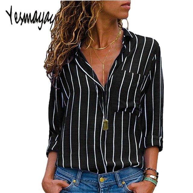 341bea0823 Negro rojo blusa a rayas para Mujer Tops y Blusas De manga larga para Mujer