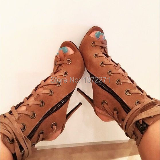 Fashionable ladies high heels shoes peep toe cut-outs women boots lace up ankle boots 2017 gladiator stiletto heels size 34--42 luxury designed women gladiator metallic sandals bead laser cut outs lace up ankle booties high heels stiletto lady pumps shoes