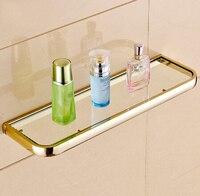New Arrivals parede de alta qualidade montado banho clássico prateleira de vidro material latão Bath prateleira do chuveiro do banheiro prateleira de cosméticos