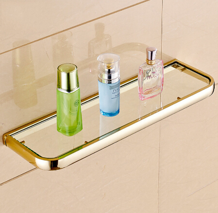 new arrivals high quality wall mounted classic bathroom glass shelf brass material bath shower shelf bathroom cosmetic shelf in bathroom shelves from home - Glass Shelves For Bathroom
