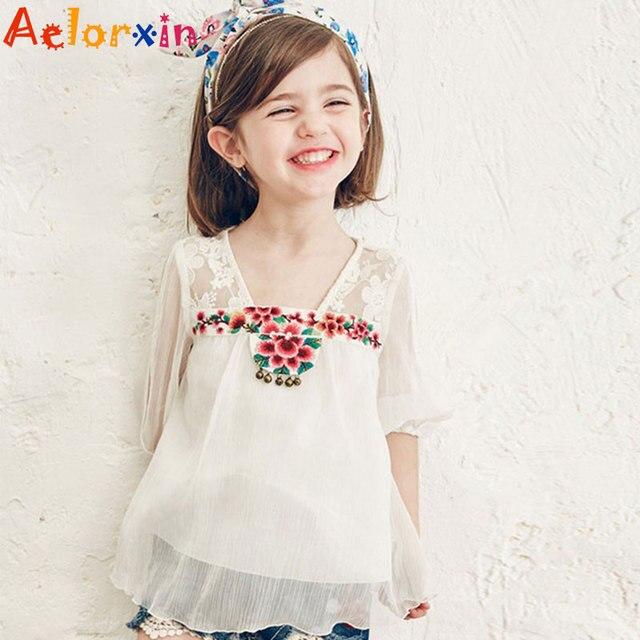 5aabc2222 € 12.65 29% de DESCUENTO|Camisas de niños para niñas blusas bordadas de  verano para niños ropa de marca infantil Tops 4 6 8 9 10 12 años la ...