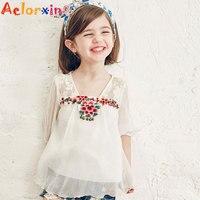 Camisas dos miúdos para Meninas Bordados Blusas de Verão para Crianças Roupas de Marca Topos infantis 4 6 8 9 10 12 Anos Meninas Da Escola blusas