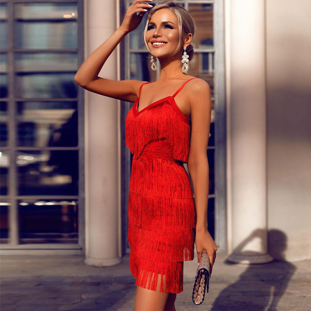 Ocstrade Tassel Red Bandage Dress 2020 New Designer Runway Women Elegant Bandage Dress Bodycon Vestidos Party Night Club Dress
